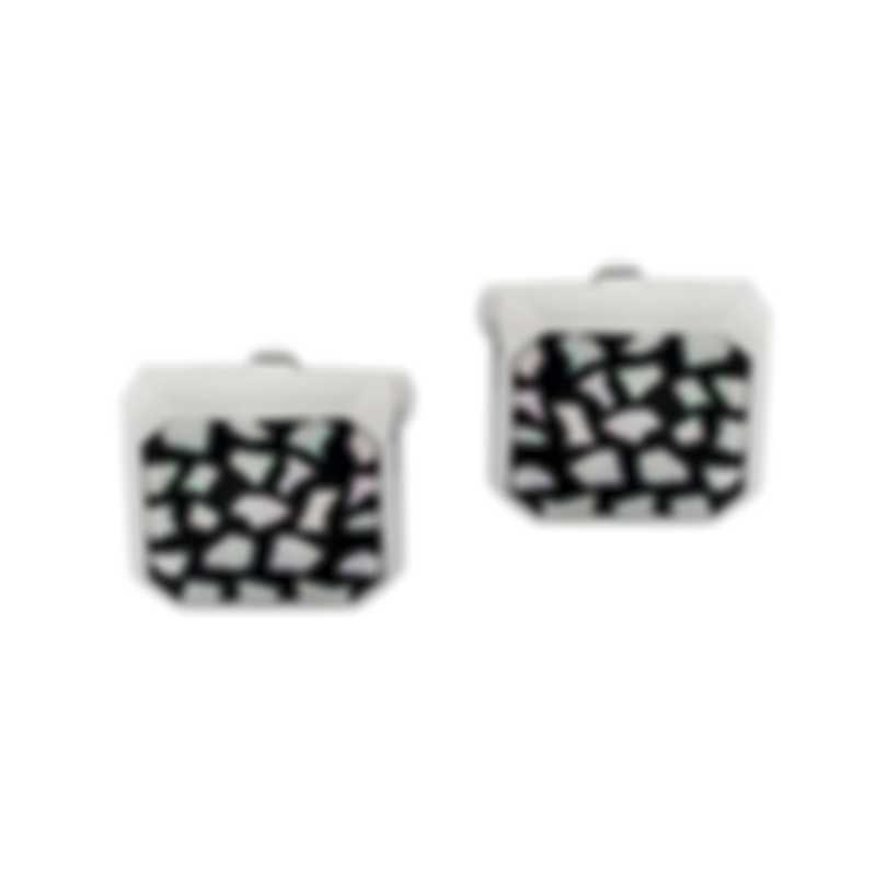 Dunhill Faceted Shell Silver & Black Sterling Silver And Mother Of Pearl And Enamel Cufflinks JSB82D5H