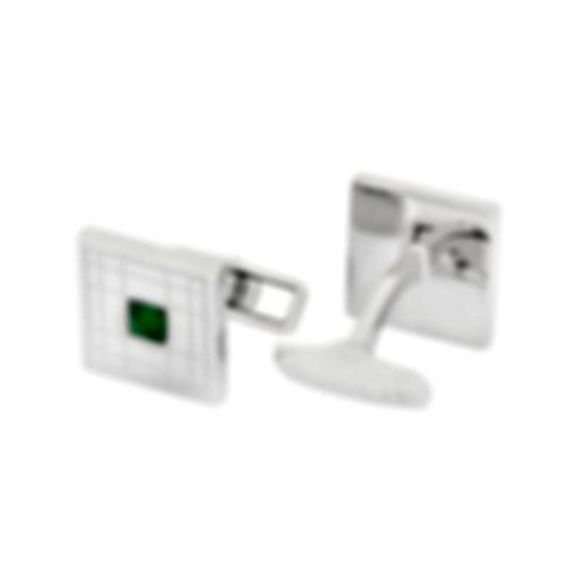 Dunhill Longtail Silver & Green Sterling Silver And Emerald Cufflinks JSC32F3K