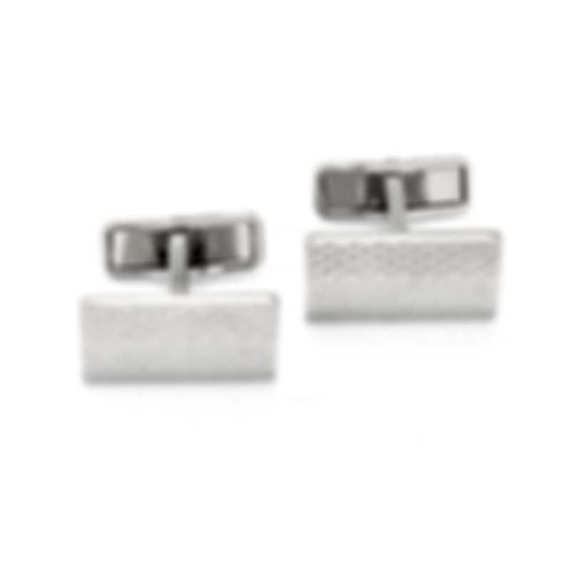Dunhill Faceted Diamond Silver Palladium Plated Cufflinks JSF3203K