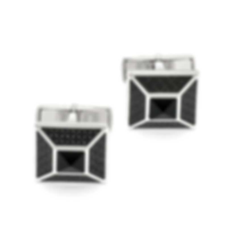 Dunhill Stud Carbon Fiber Black Cufflinks JSG8205H