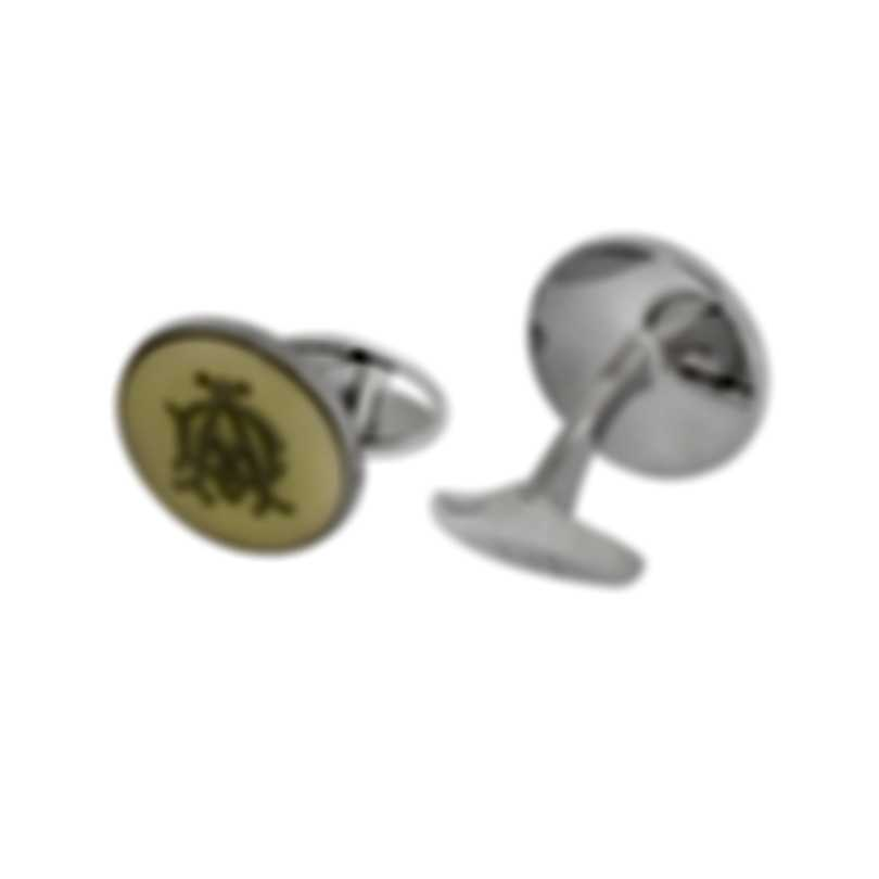 Dunhill Cadogan Silver & White Rhodium Plate And Enamel Cufflinks JYA3214K