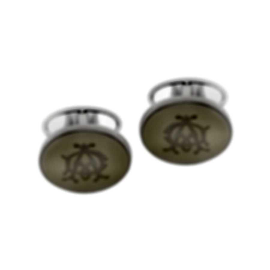 Dunhill Cadogan Silver & White Rhodium Plate And Enamel Cufflinks JYA3214K