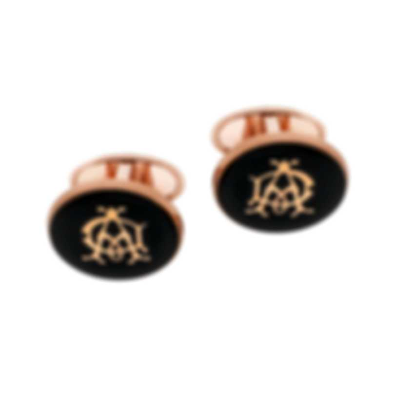 Dunhill Cadogan Gold & Black Gold Plate And Enamel Cufflinks JYB5217K