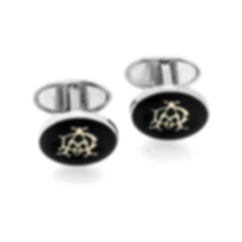 Dunhill Cadogan Black Silver & Black Palladium Plate And Enamel Cufflinks JYX1200K