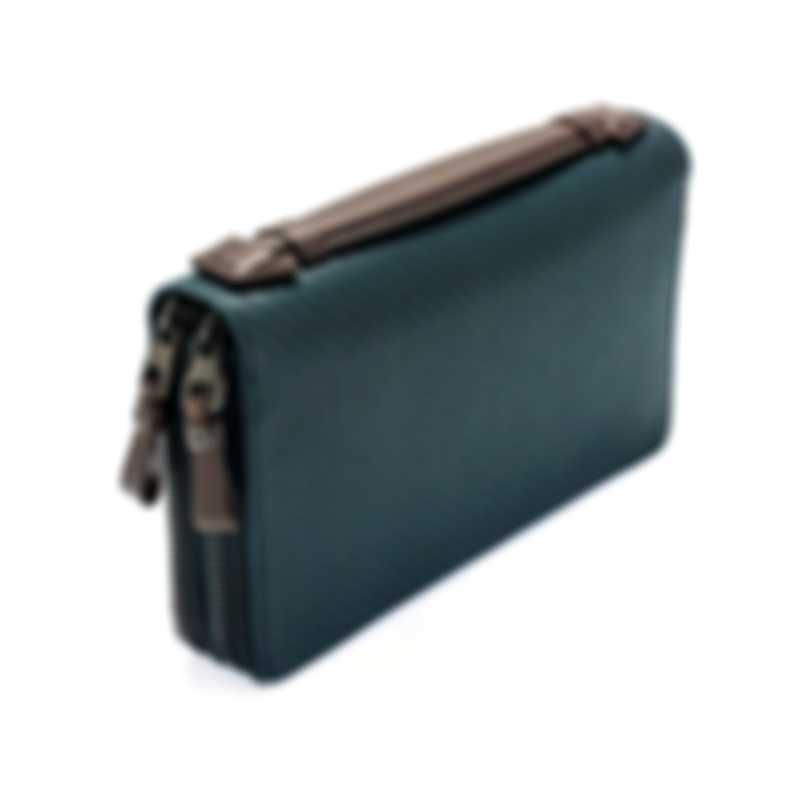 Dunhill Men's Navy Leather Coat Wallet L2A245N