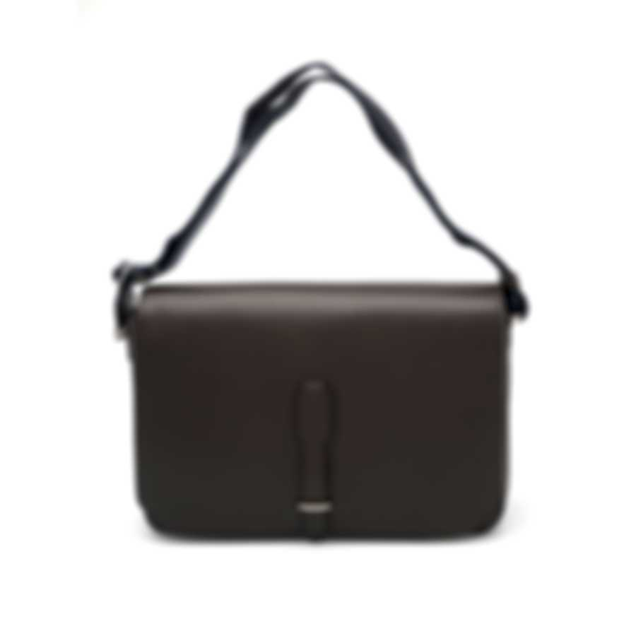 Dunhill Brown Cowhide Leather And Cotton Messenger Bag L3AE65B