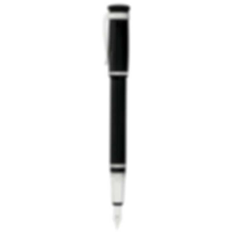 Dunhill Sentryman Black & Silver Resin And Palladium And 18k White Gold Fountain Pen NWD1503