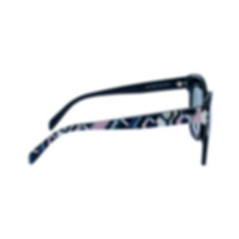 Emilio Pucci Women's Shiny Blue With Cobalt And Pink Gaiola Print Sunglasses EP009790W