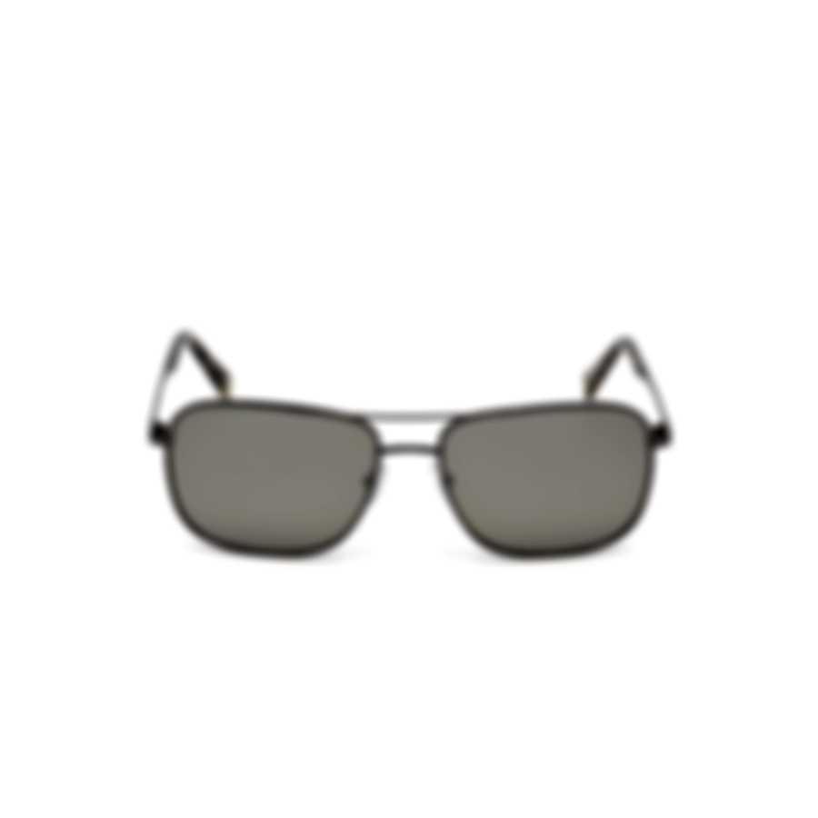 Ermenegildo Zegna Shiny Gunmetal & Smoke Mirror Pilot Sunglasses EZ0079-5908C
