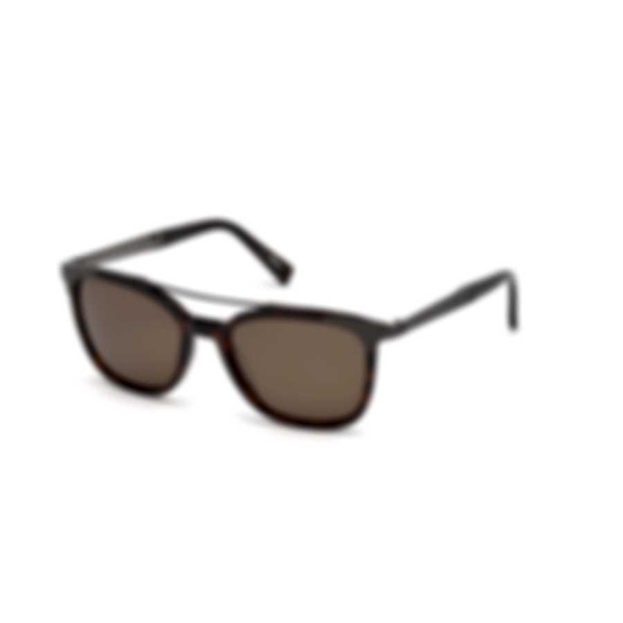 Ermenegildo Zegna Dark Havana & Brown Square Sunglasses EZ0073-5452M