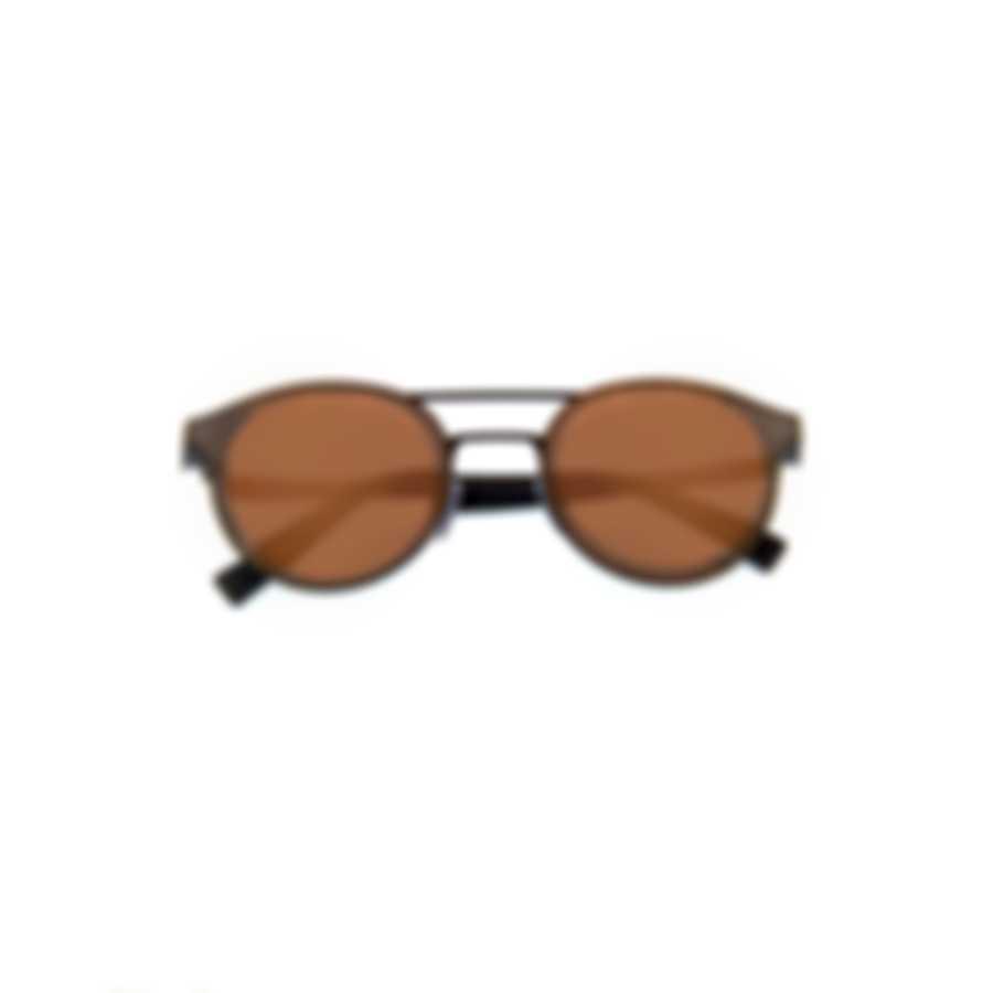 Ermenegildo Zegna Matte Black & Brown Mirror Oval Sunglasses EZ0085-6002L
