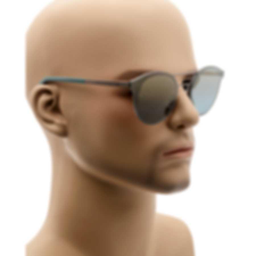 Ermenegildo Zegna Matte Gunmetal & Blue Mirror Oval Sunglasses EZ0085-6009X