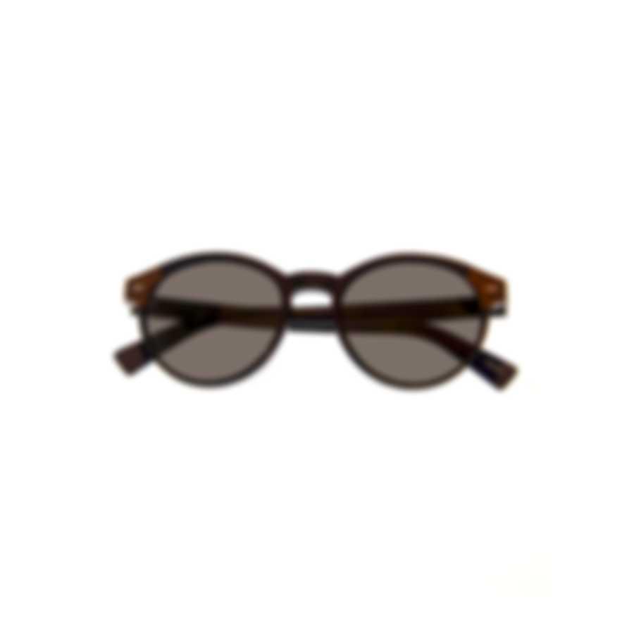 Ermenegildo Zegna Shiny Black & Smoke Round Sunglasses EZ0081-5101A