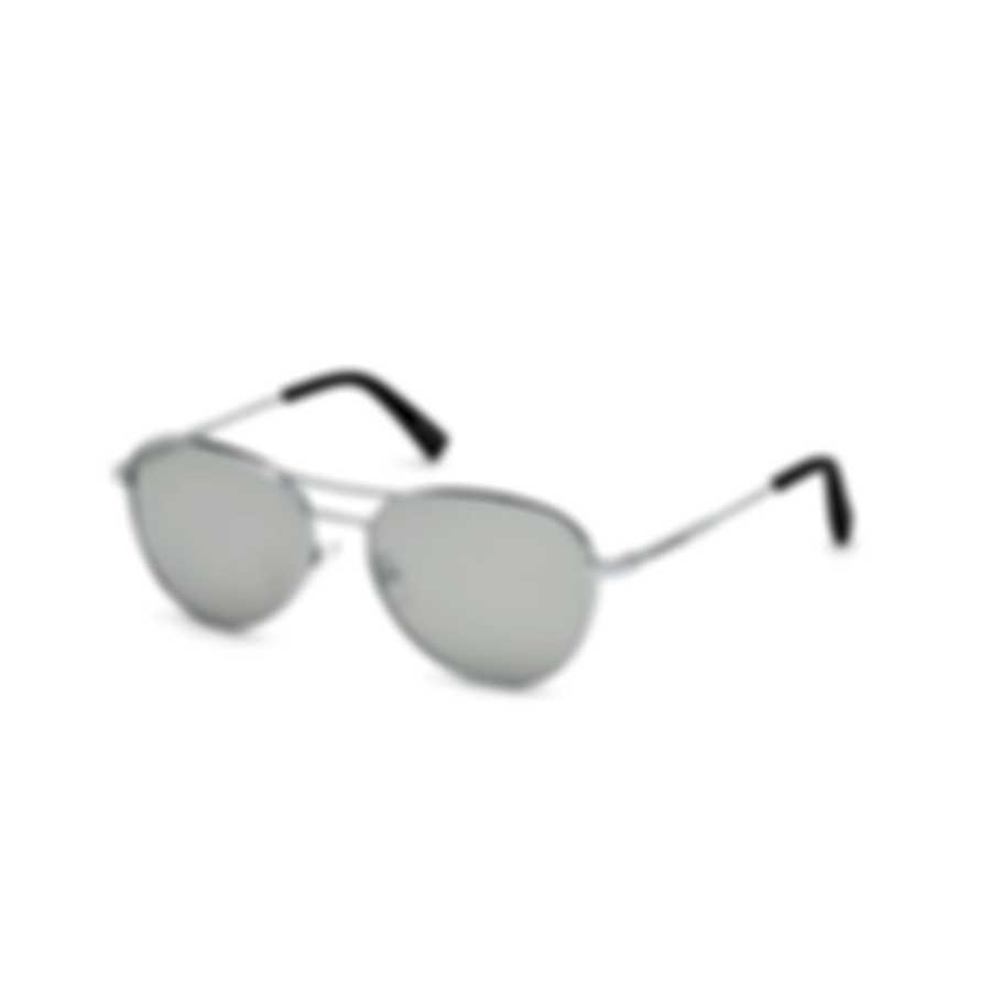 Ermenegildo Zegna Shiny Rhodium & Smoke Mirror Pilot Sunglasses EZ0098-5618C