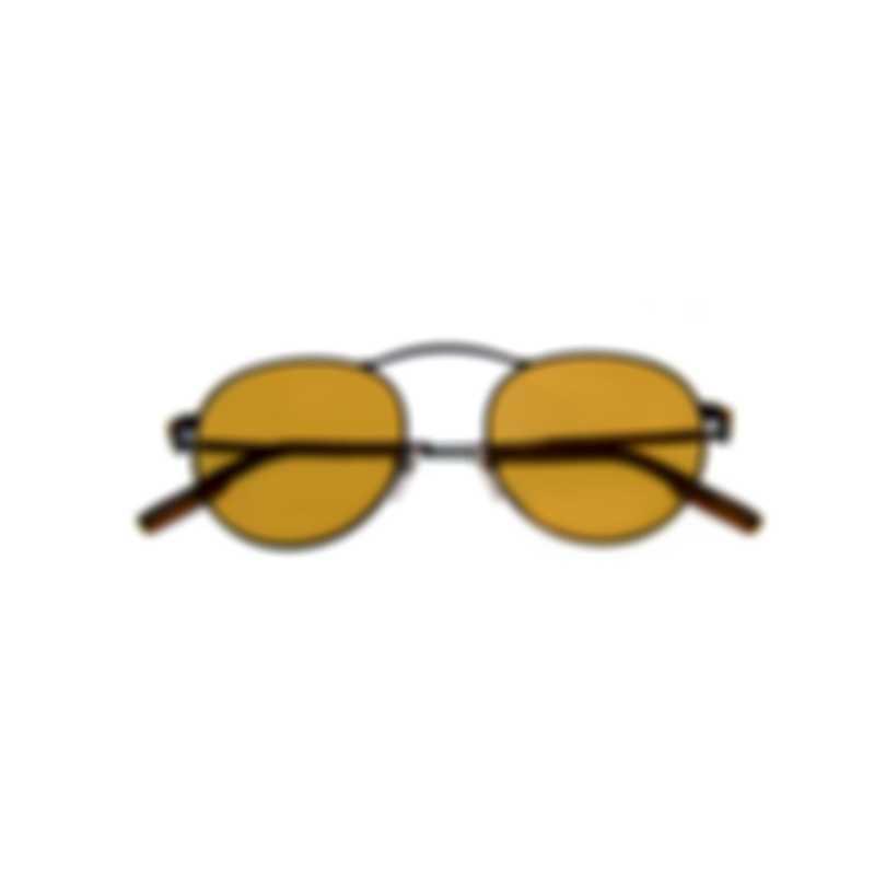 Ermenegildo Zegna Shiny Black & Brown Round Sunglasses EZ0114-5001E