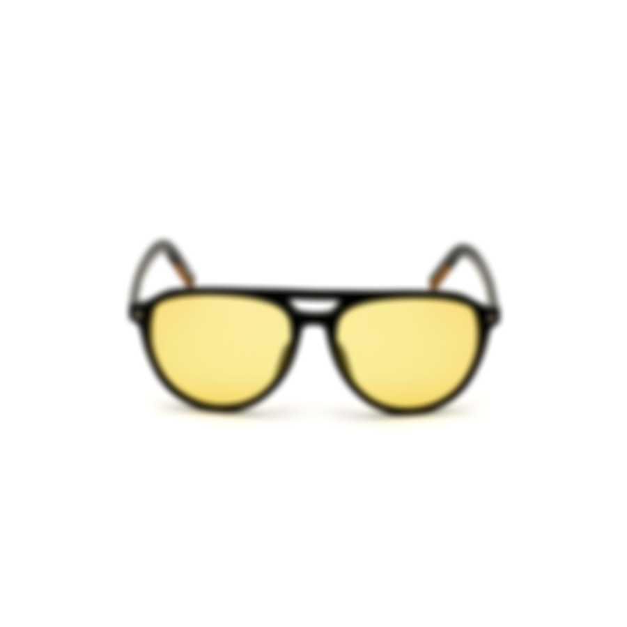 Ermenegildo Zegna Shiny Black & Yellow Pilot Sunglasses EZ0133-5701H