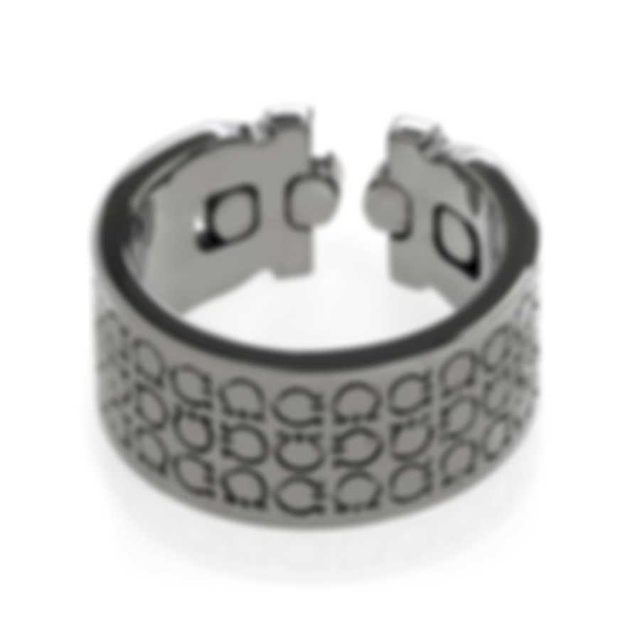 Ferragamo Gancini Rhodium Silver Ring Sz 8 703411