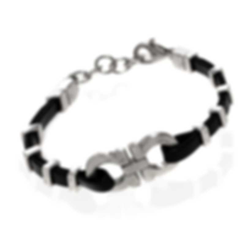 Ferragamo Gancini Sterling Silver And Leather Bracelet 703421