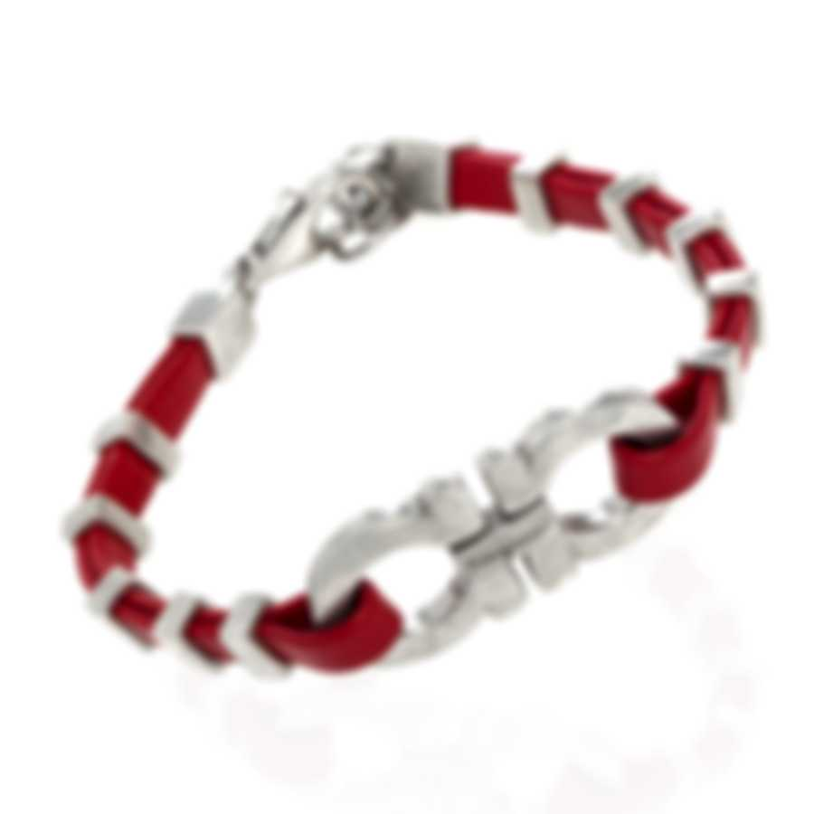 Ferragamo Gancini Sterling Silver And Leather Bracelet 703422