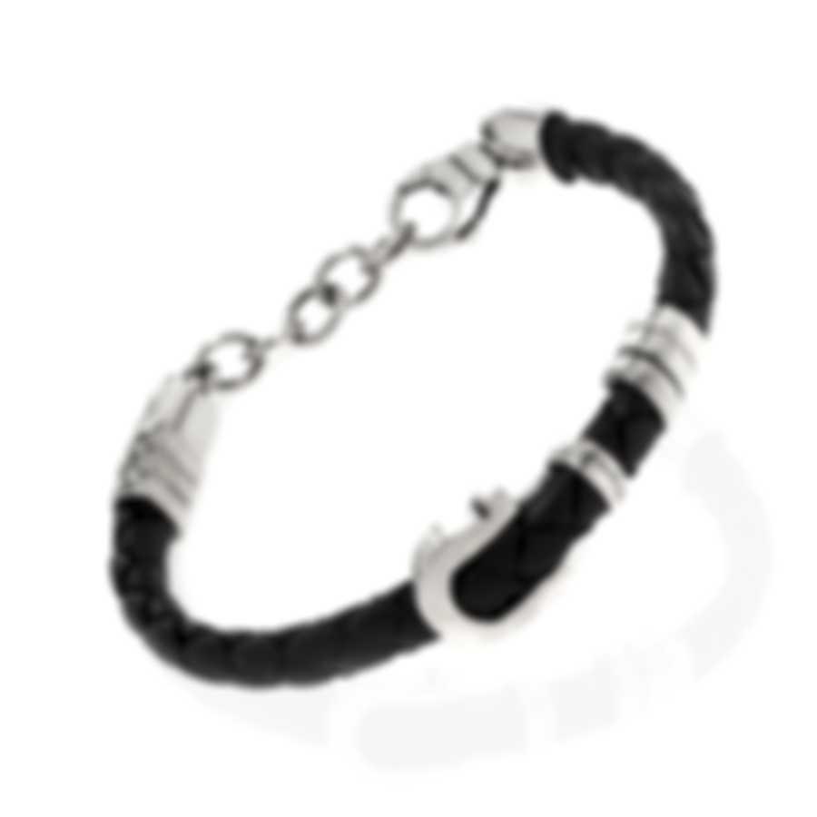 Ferragamo Gancini Sterling Silver And Leather Bracelet 703423