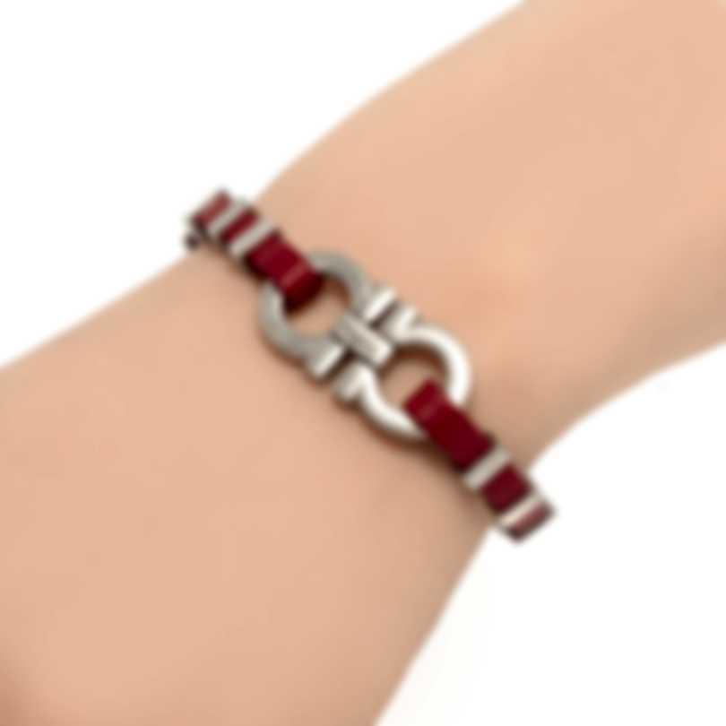 Ferragamo Gancino Rhodium Silver And Leather Bracelet 703424