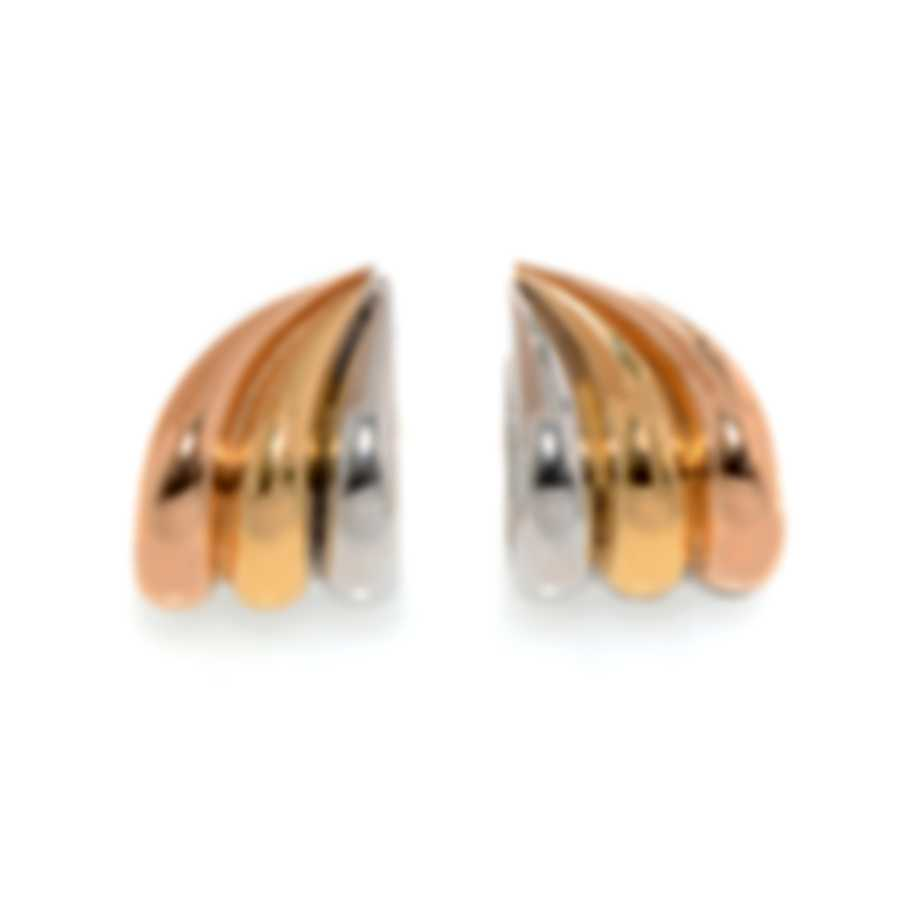 Ferragamo Wedge Sterling Silver And Gold Plated Earrings 703427