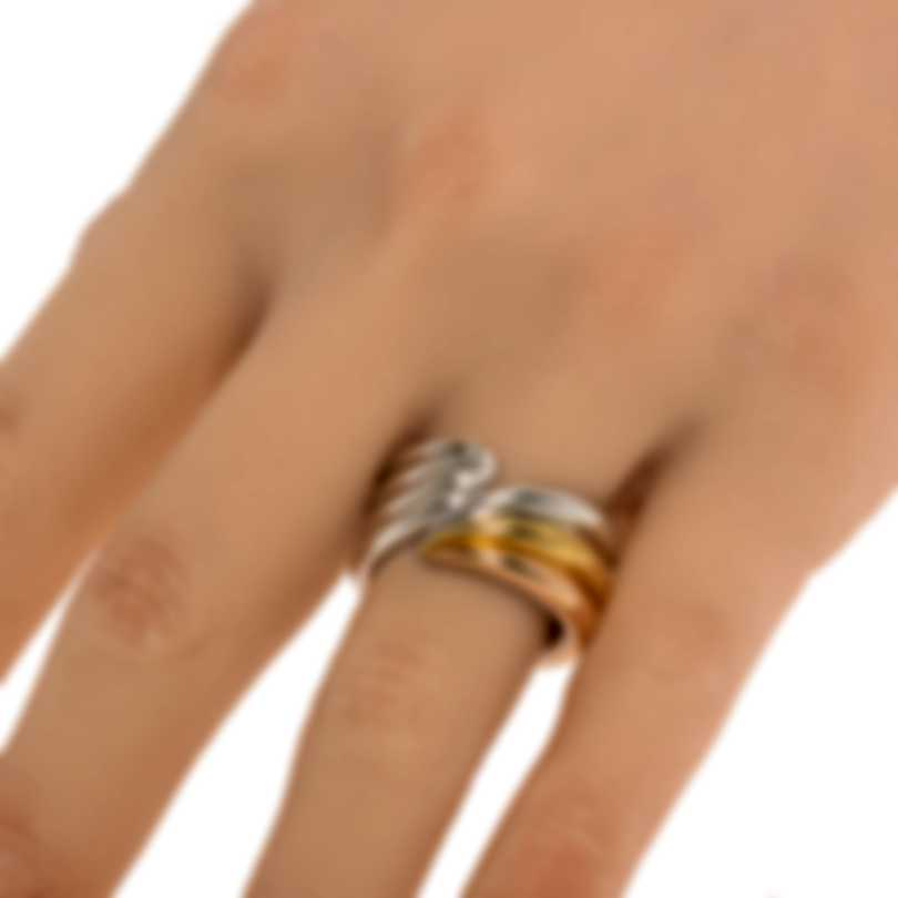 Ferragamo Wedge Sterling Silver And Gold Plated Ring Sz 6.75 703438