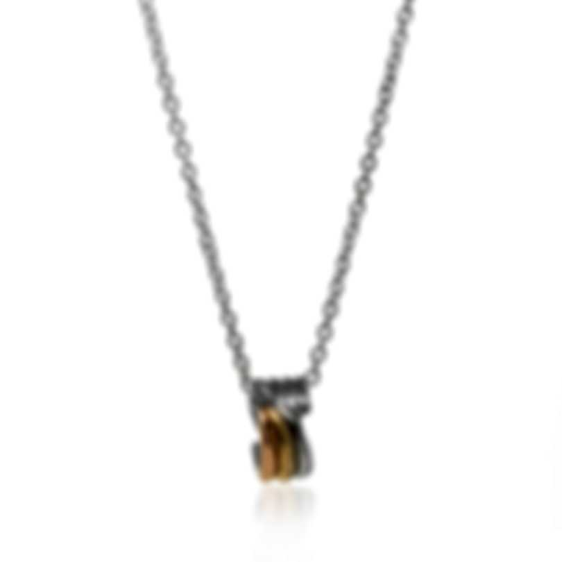 Ferragamo Wedge Sterling And Gold Plated Necklace 703441