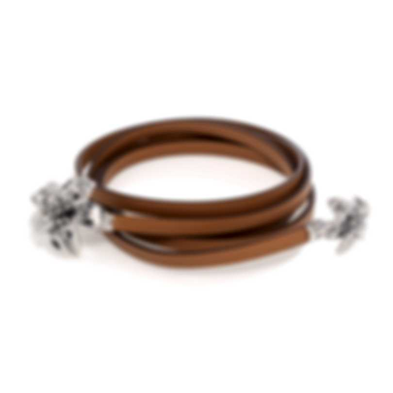 Ferragamo Giglio Sterling Silver And Leather Necklace 703491