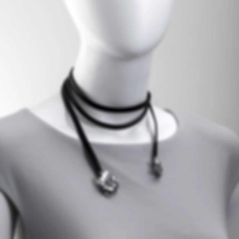Ferragamo Giglio Sterling Silver And Leather Necklace 703492