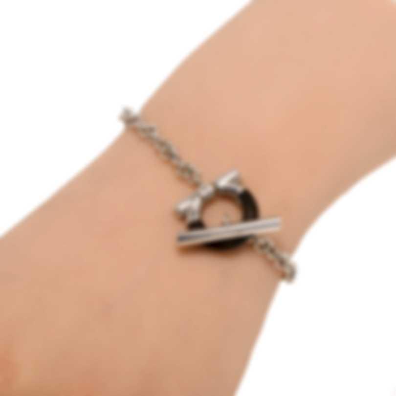 Ferragamo Gancino Sterling Silver And Ebony/Wood Bracelet 704706