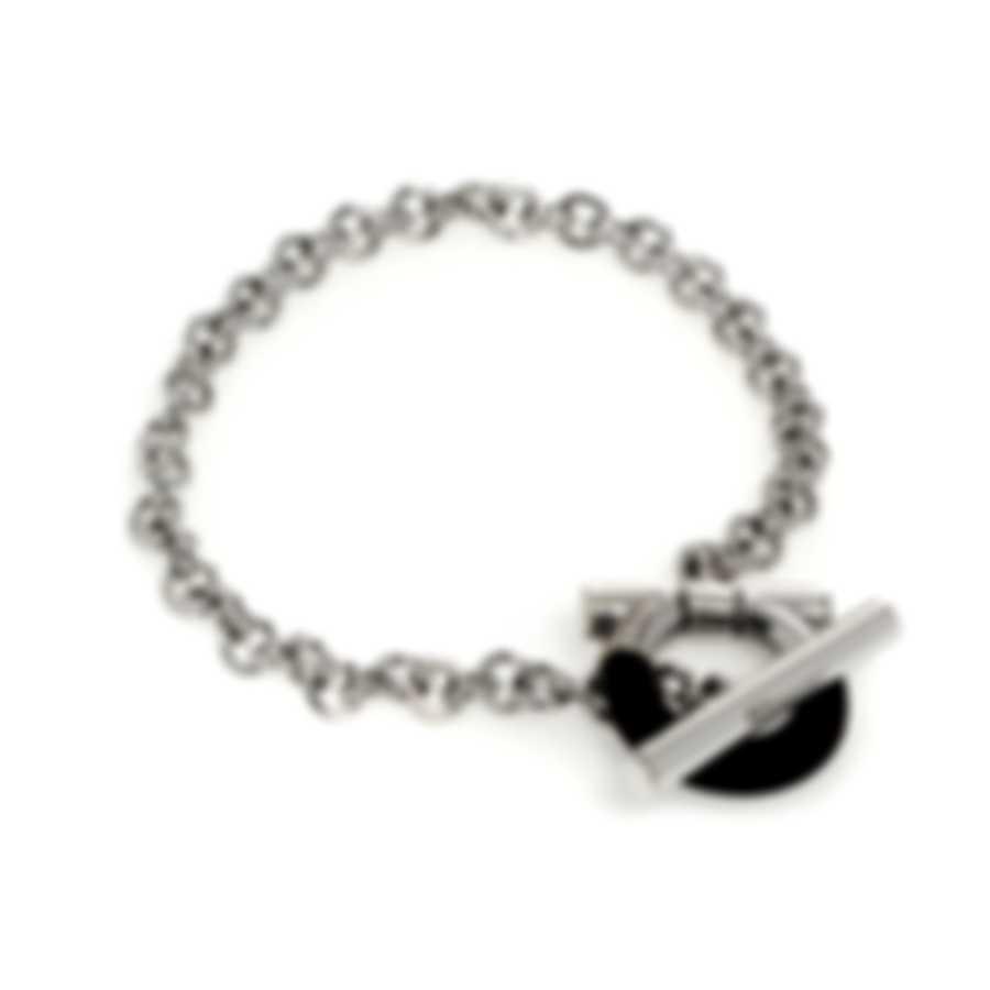 Ferragamo Gancini Sterling Silver And Ebony/Wood Bracelet 704707
