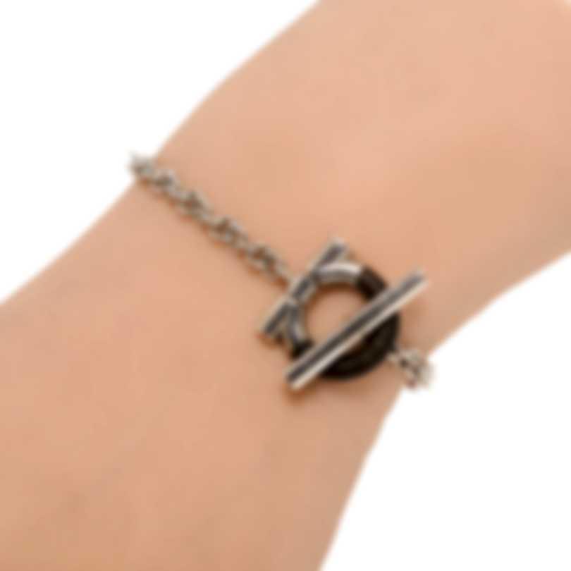 Ferragamo Gancino Sterling Silver And Ebony/Wood Bracelet 704707