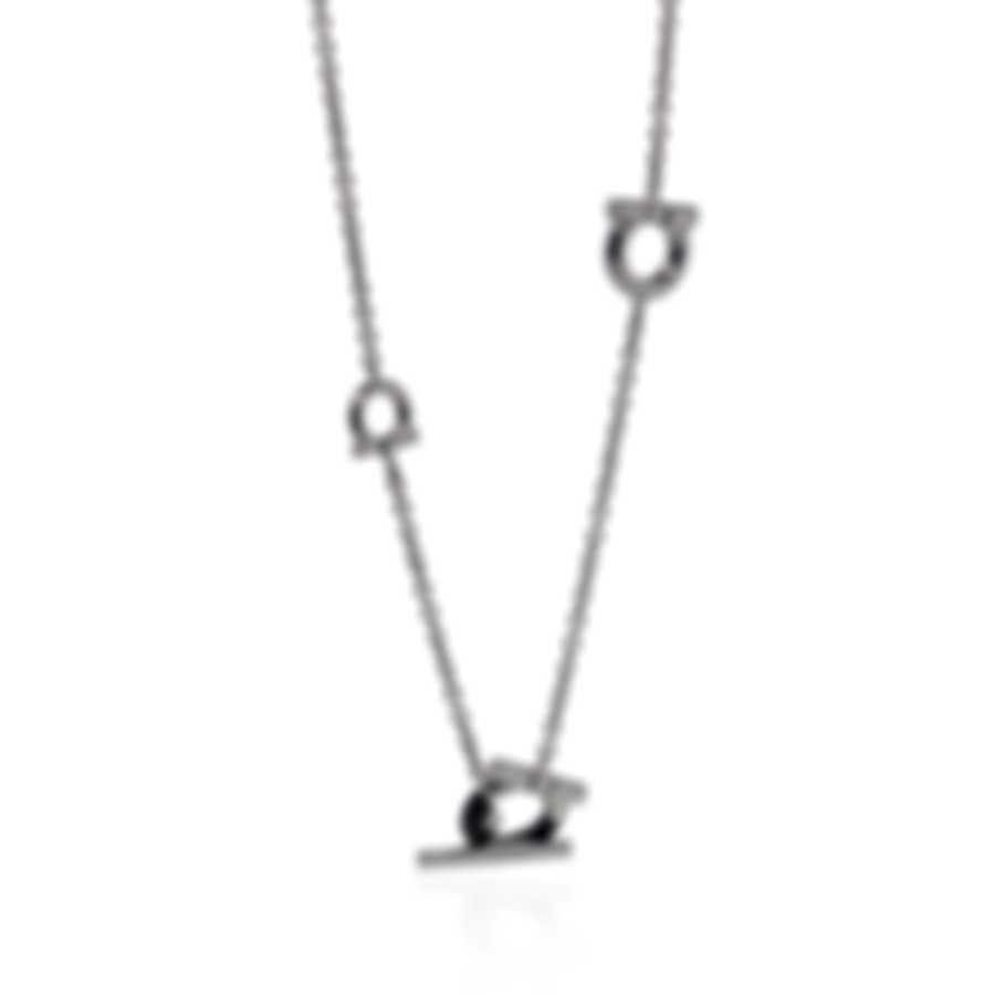 Ferragamo Gancini Sterling Silver And Wood Necklace 704709