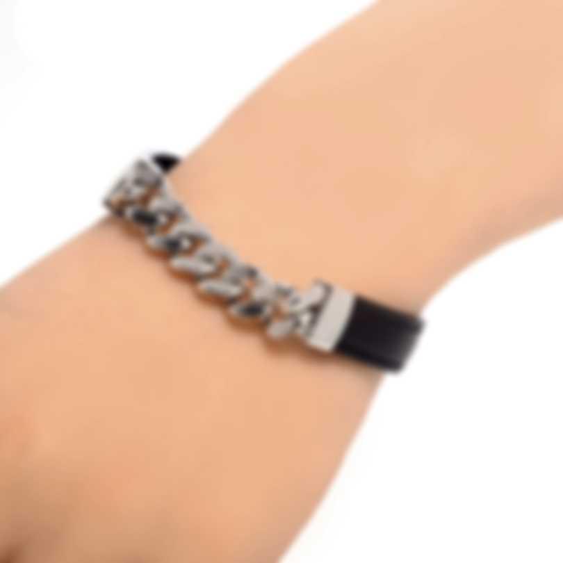 Ferragamo Gancino Sterling Silver And Leather Bracelet 704738