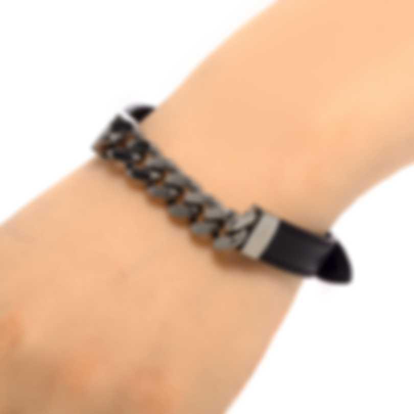 Ferragamo Gancino Sterling Silver And Leather Bracelet 704740