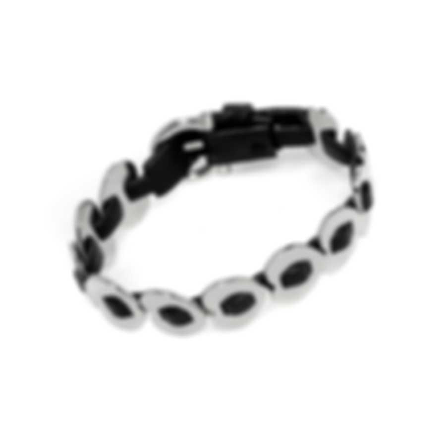Ferragamo Gancini Sterling Silver And Leather Bracelet 704772