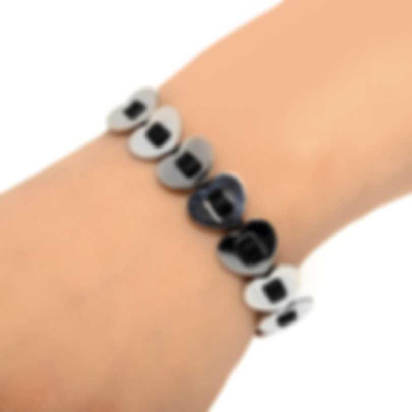 Ferragamo Gancino Sterling Silver And Leather Bracelet 704772