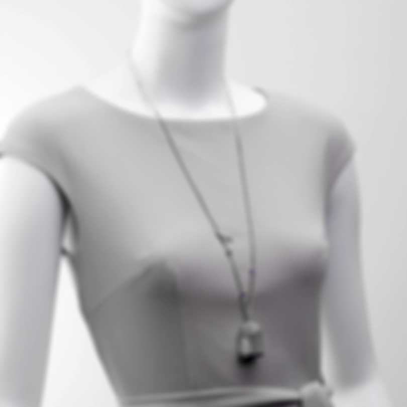 Ferragamo Capsule Libert Sterling Silver And Amethyst Necklace 704793