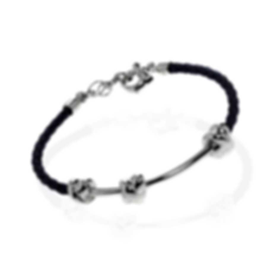 Ferragamo Nodo Sterling Silver And Leather Bracelet 704190