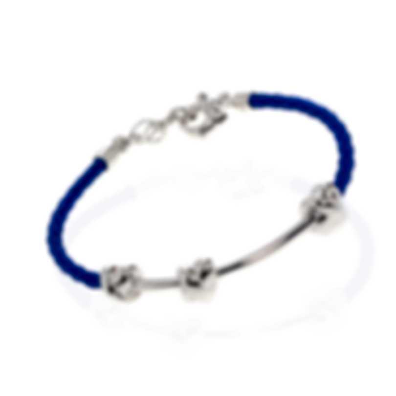 Ferragamo Nodo Sterling Silver And Leather Bracelet 704191