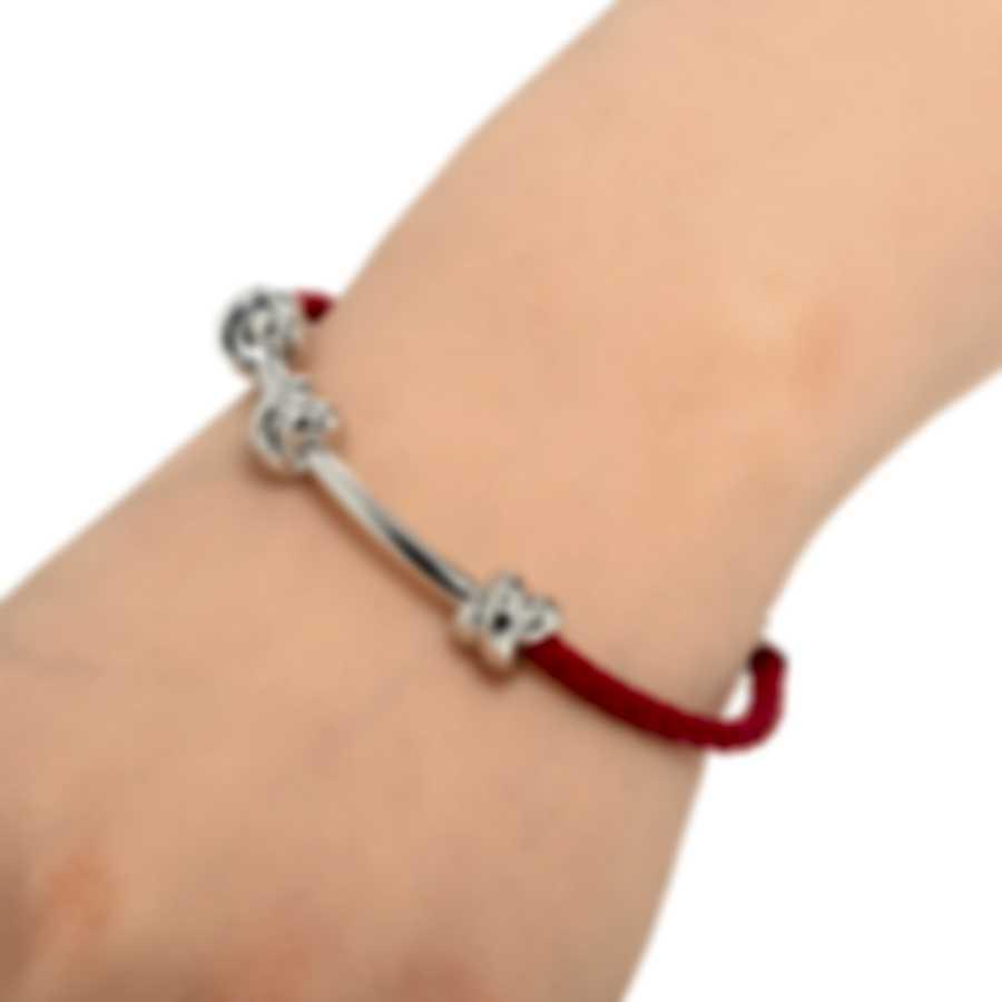 Ferragamo Nodo Sterling Silver And Leather Bracelet 704192