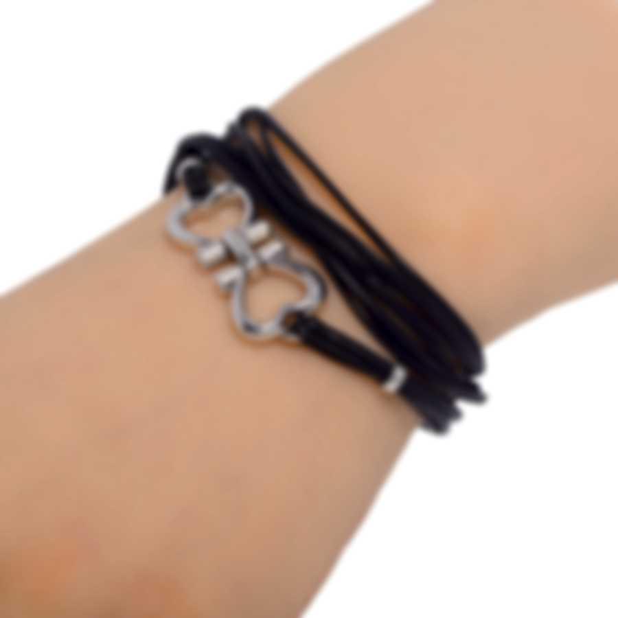 Ferragamo Gancini Sterling Silver And Leather Bracelet 704201
