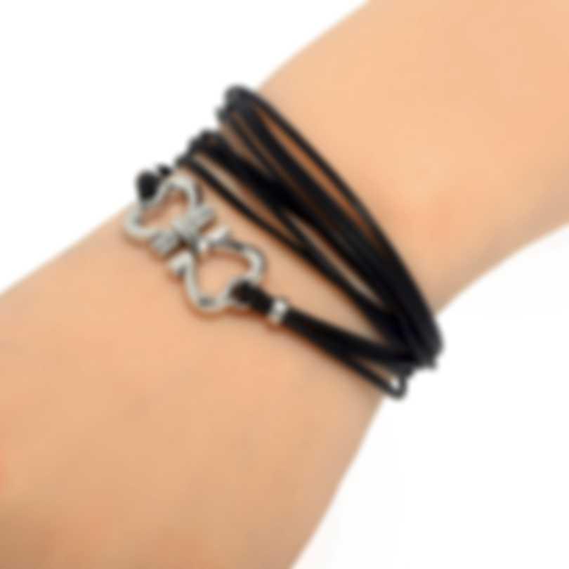Ferragamo Gancino Sterling Silver And Leather Bracelet 704202