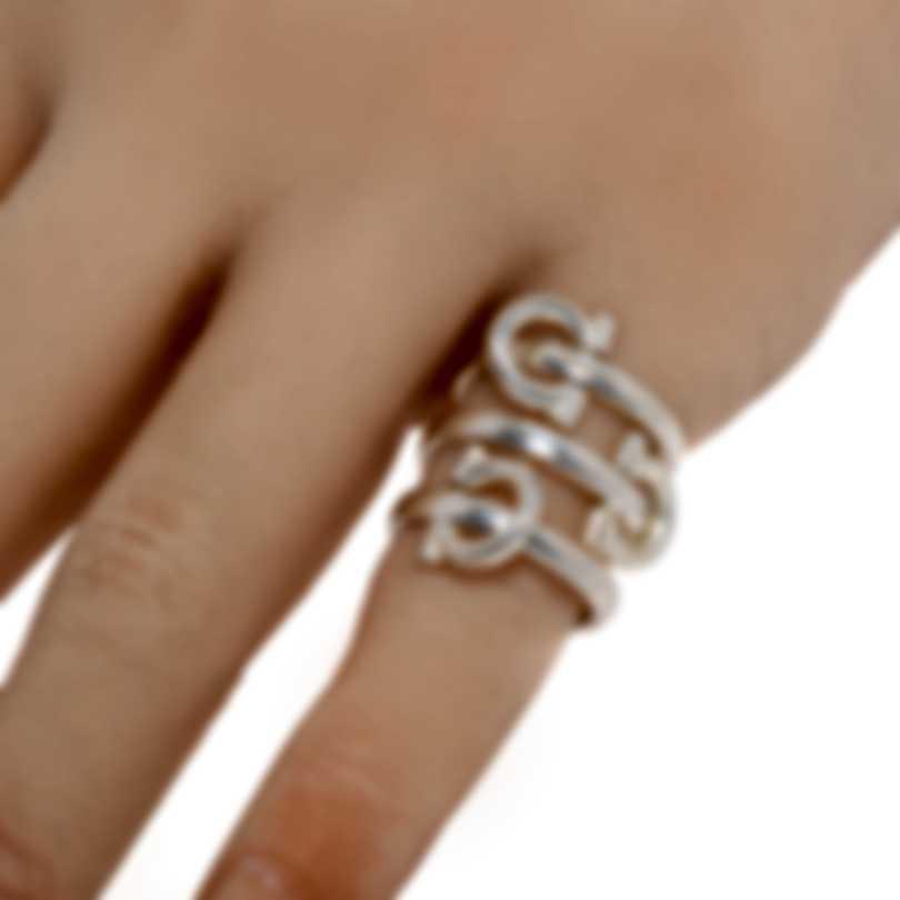 Ferragamo Gancini Sterling Silver Ring Sz 4.5 705676