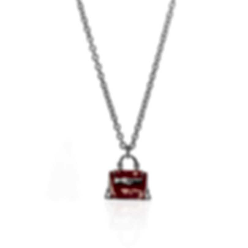Ferragamo Charms Sterling Silver And Enamel Necklace 705120