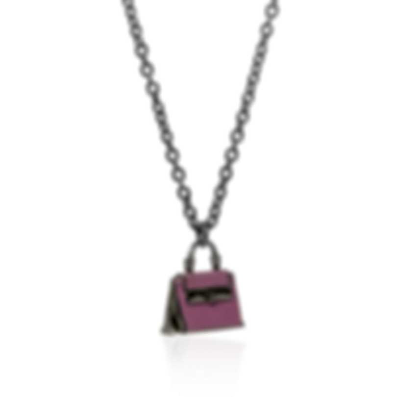 Ferragamo Charms Sterling Silver And Enamel Necklace 705121