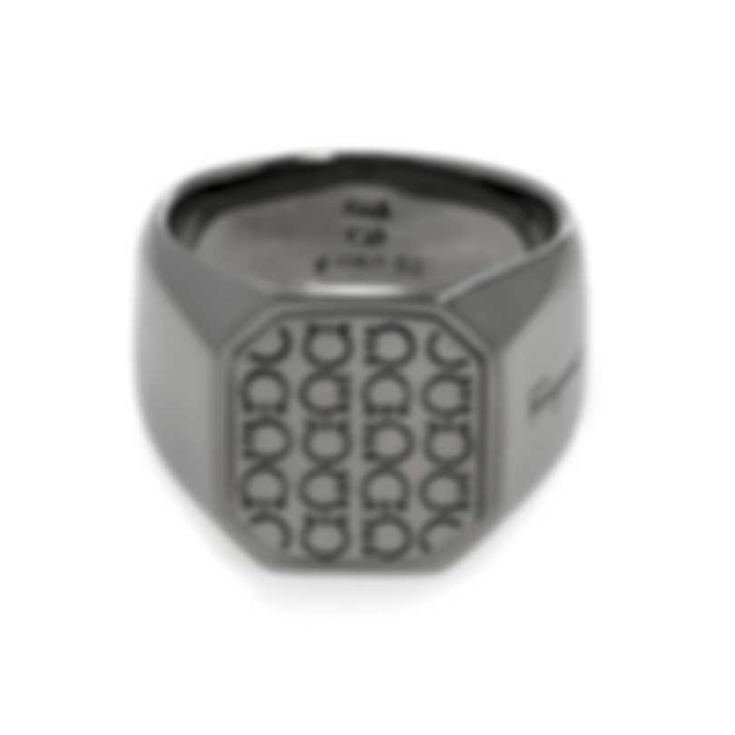 Ferragamo Gancini Rhodium Silver Ring Sz 9.75 705136