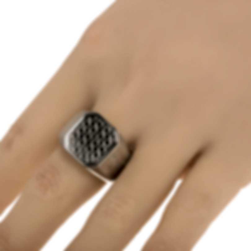 Ferragamo Gancini Rhodium Silver Ring Sz 10.5 705137