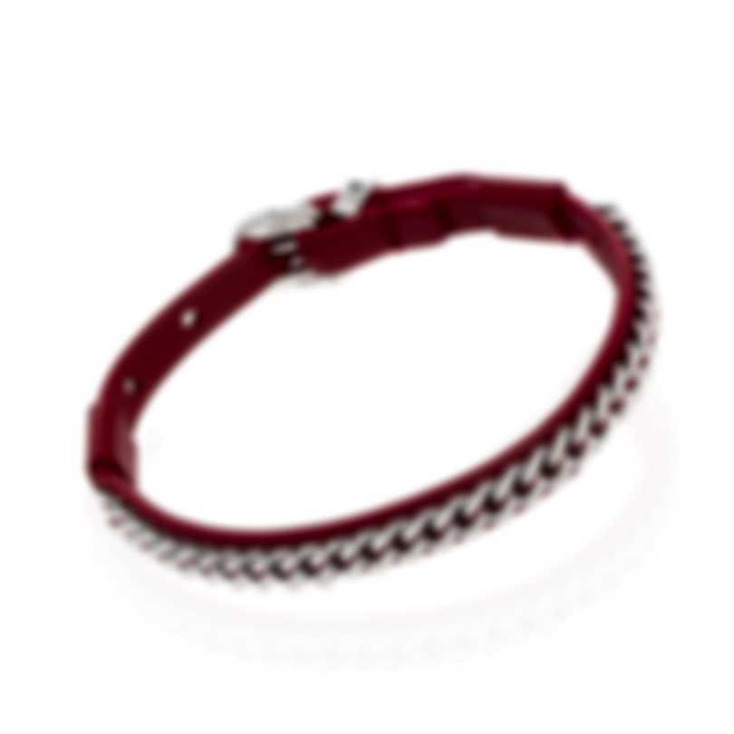 Ferragamo Gancini Sterling Silver And Leather Bracelet 705347